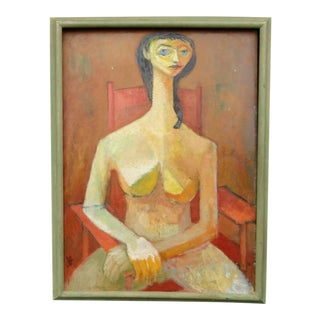 1960s Vintage Jorgen Hansen Abstract Portrait of a Woman Painting For Sale