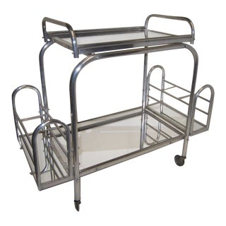 French Modernist Chrome Bar Cart With Removable Tray by Jacques Adnet For Sale