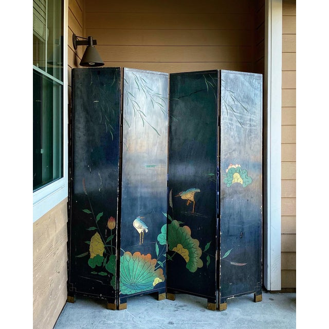 1950s 1950s Vintage Gold Chinese Room Divider For Sale - Image 5 of 8