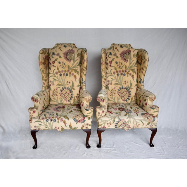 English Queen Anne Style High Back Library Wingchair, Circa 1910 For Sale - Image 4 of 13