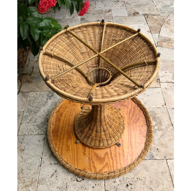 Vintage Wicker Rattan Dining Table For Sale - Image 11 of 13