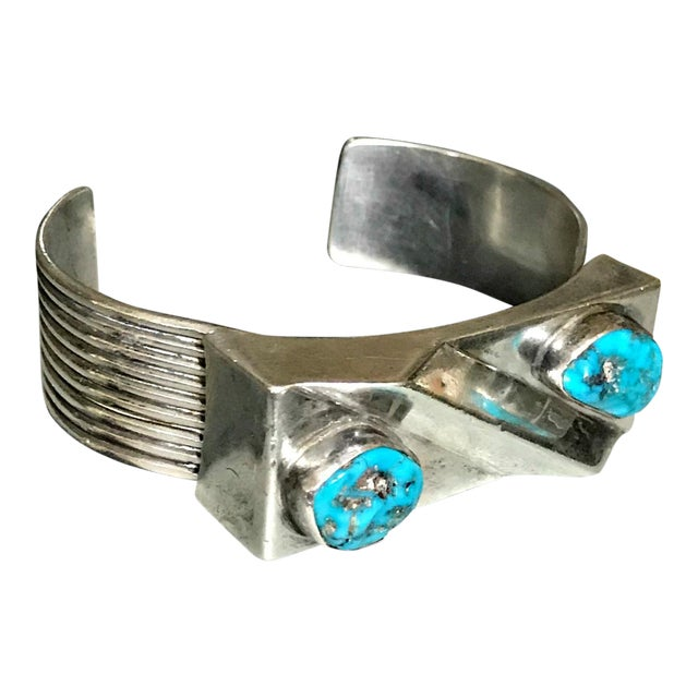 1970s Navajo Style Scott Dave Navajo Silver Turquoise Cuff Bracelet For Sale