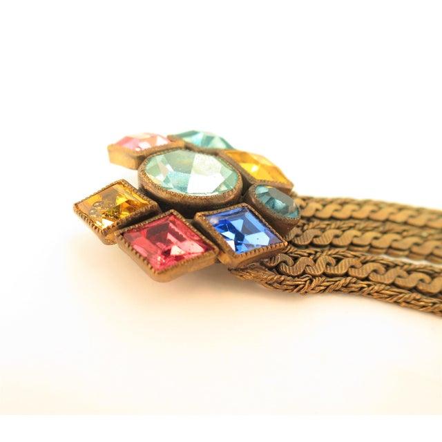 Czech Art Deco Jewel-Tone Bohemian Crystal & Chains Bracelet 1920s For Sale - Image 9 of 13