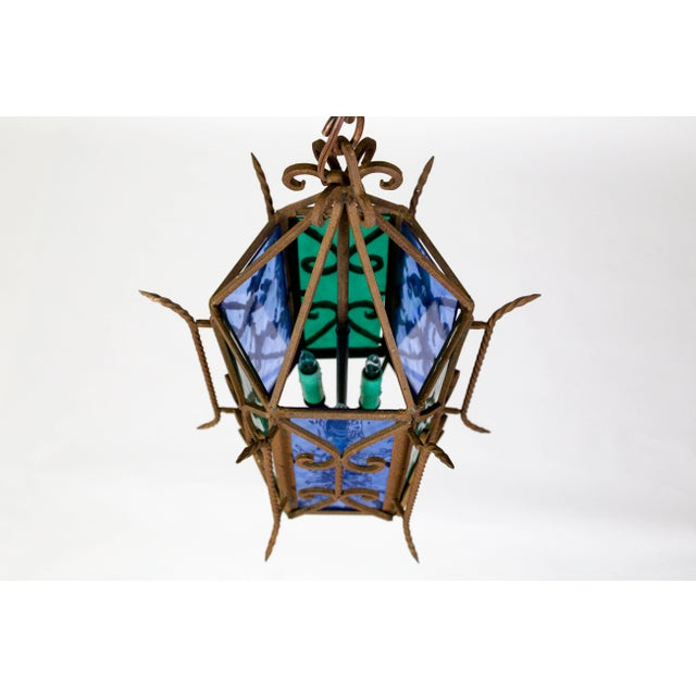 Metal 1920s Gothic Revival Lantern With Blue & Green Glass For Sale - Image 7 of 11