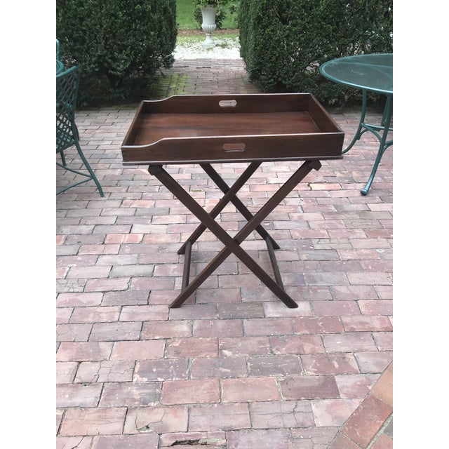 Campaign Style Mahogany Butlers Tray on Stand—Can Be Shipped in Box by Ups For Sale - Image 12 of 12