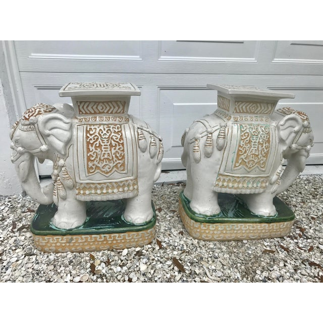 Asian Vintage White Ceramic Elephant Garden Stools - A Pair For Sale - Image 3 of 11