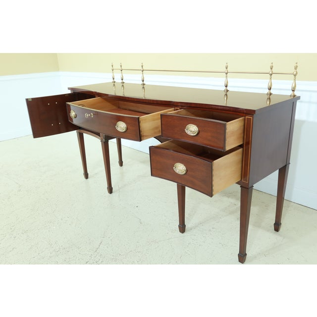 1990s Kindel Oxford Mahogany Federal Sideboard W. Brass Gallery For Sale - Image 5 of 13