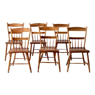 Antique Plank Seat Dining Chairs - Set of 6 For Sale