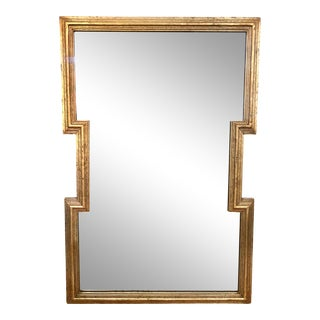 Hollywood Regency Rectangle Geometric Gold Mirror For Sale