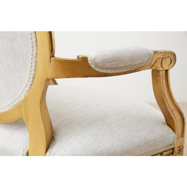 Pair of Louis XVI Style Giltwood Linen Fauteuil Armchairs For Sale In San Francisco - Image 6 of 13