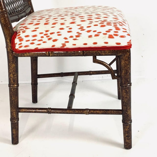 Mid 20th Century Set of 6 Upholstered Faux Bois Bamboo Chinese Chippendale Cane Dining Chairs For Sale - Image 5 of 13