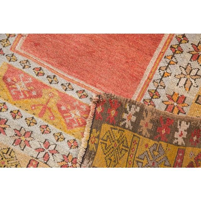 """Tangerine Vintage Turkish Prayer Rug - 3'8"""" x 5'2"""" For Sale - Image 8 of 13"""