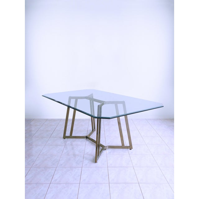 Gold Mid-Century Modern Mastercraft Space Age Brass & Glass Dining / Conference Table For Sale - Image 8 of 8