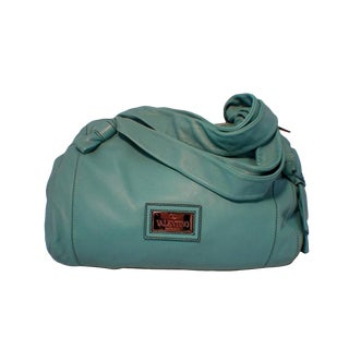 Valentino Teal Lambskin Shoulder Tote Handbag For Sale