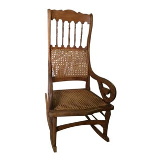 Large Caned Lincoln Rocking Chair For Sale