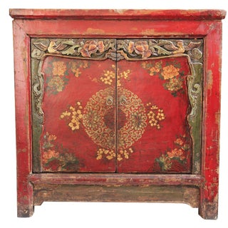 Mongolian Painted Square Cabinet For Sale