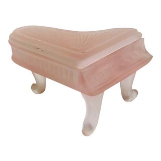 Vintage Pink Satin Glass Piano Box For Sale