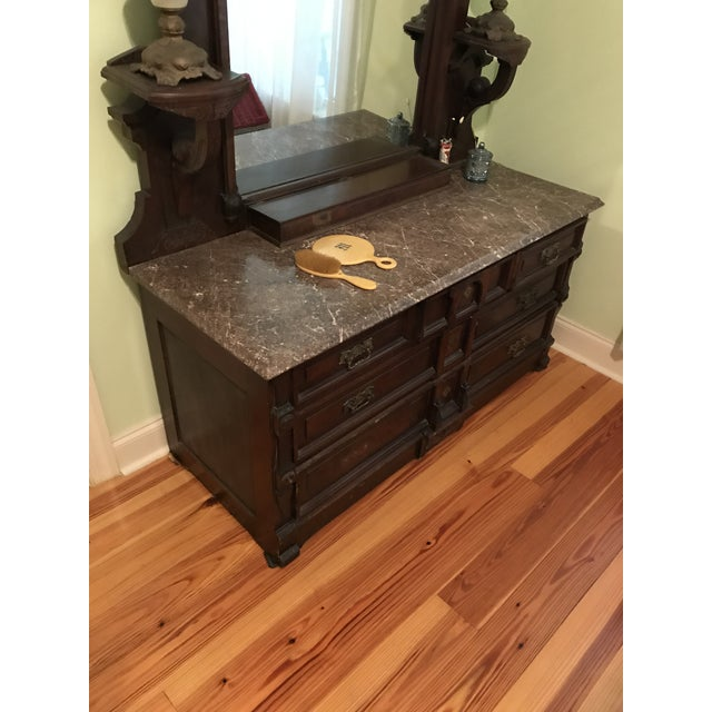 Walnut Renaissance Revival Vanity Dresser with Marble Top - Image 3 of 11