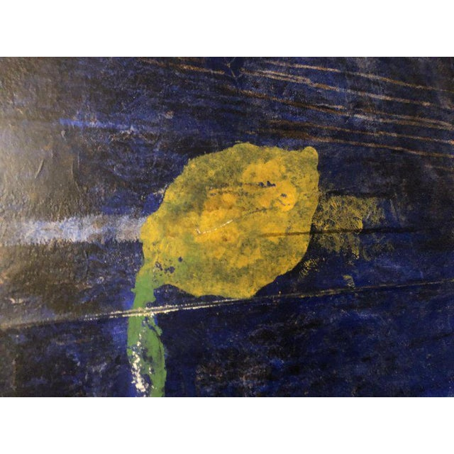 """1980s Oil on Canvas Pierre Brisson Titled on Reverse """"Citrons Dans Le Grand Canal"""" For Sale - Image 5 of 12"""