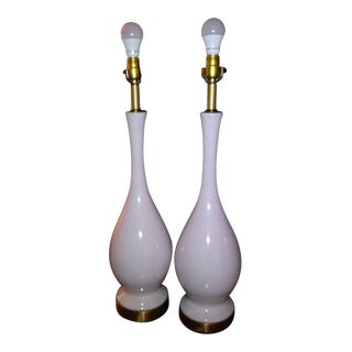Mid-Century Scandinavian Ceramic and Brass Lamps - a Pair For Sale