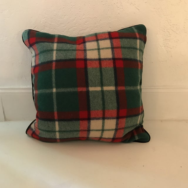 Two large wool velvet pillows made from vintage stadium blankets. Backs are new smoky grey cotton velvet. pillow #1 is 20...