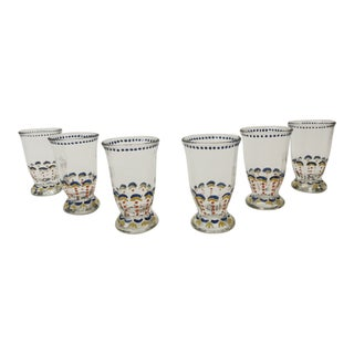 Set of (6) Bohemian Hand Painted Juice Glasses. For Sale