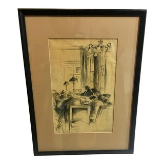 1940s Vintage Figures in Meeting Charcoal Drawing For Sale