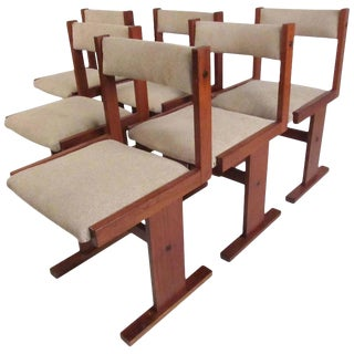 Vintage Set of Six Scandinavian Modern Teak Dining Chairs For Sale