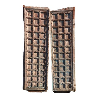 Carved 18th Century East Indian Doors - a Pair For Sale