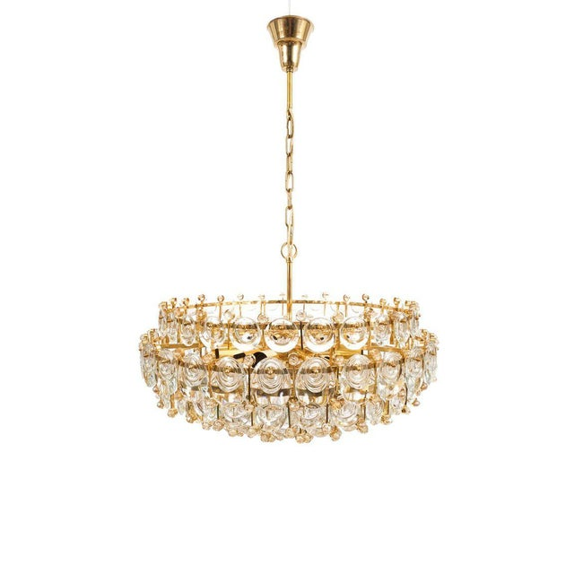 Exceptional Large Gilt Brass and Glass Chandelier Lamp, Palwa circa 1960 For Sale - Image 11 of 11
