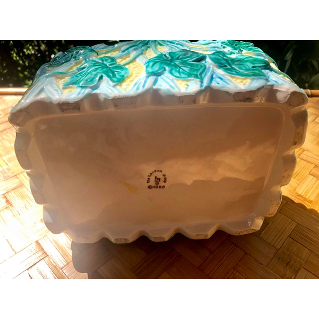 Vintage Faience Ceramic Ivy Basket For Sale - Image 9 of 11