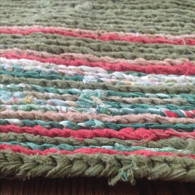 "Vintage Handmade Rag Rug - 3' x 1'4"" For Sale In Indianapolis - Image 6 of 11"