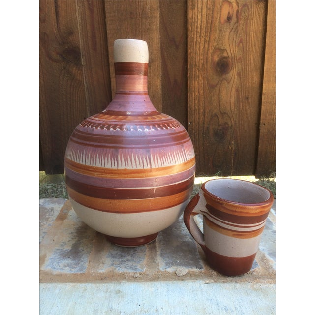 Vintage Mexican Water Jug & Cup - Image 2 of 8