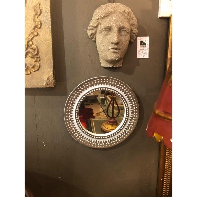 Mid Century Modern Danish Round Ceramic Wall Mirror For Sale In Philadelphia - Image 6 of 8