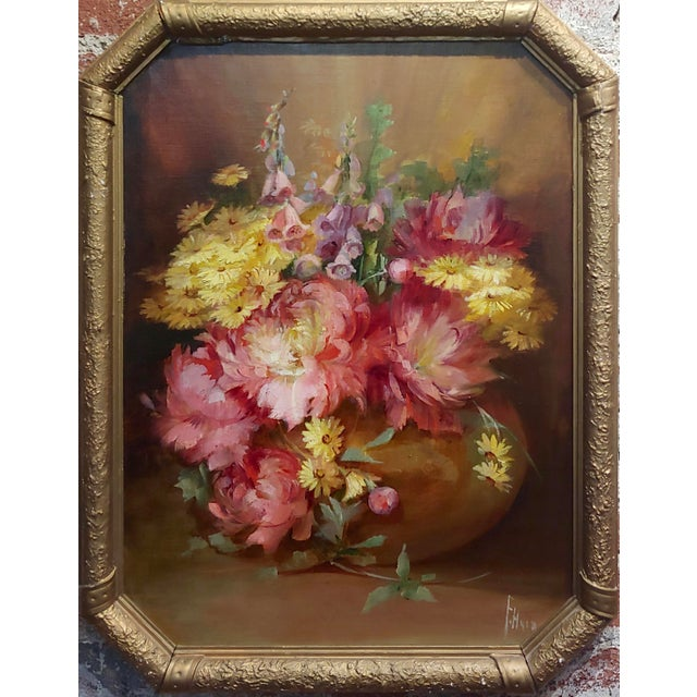 Florine Hyer - Beautiful Still Life of Flowers - Oil painting -c1900 Oil painting on board -Signed circa 1900s frame size...