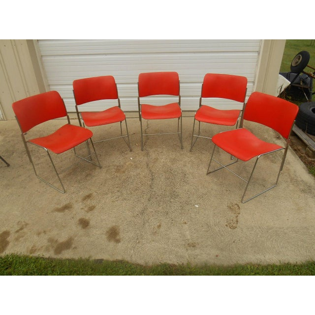 Mid-Century Modern 1970s GF Business Furniture 40/4 Orange Chairs - 5 For Sale - Image 3 of 5