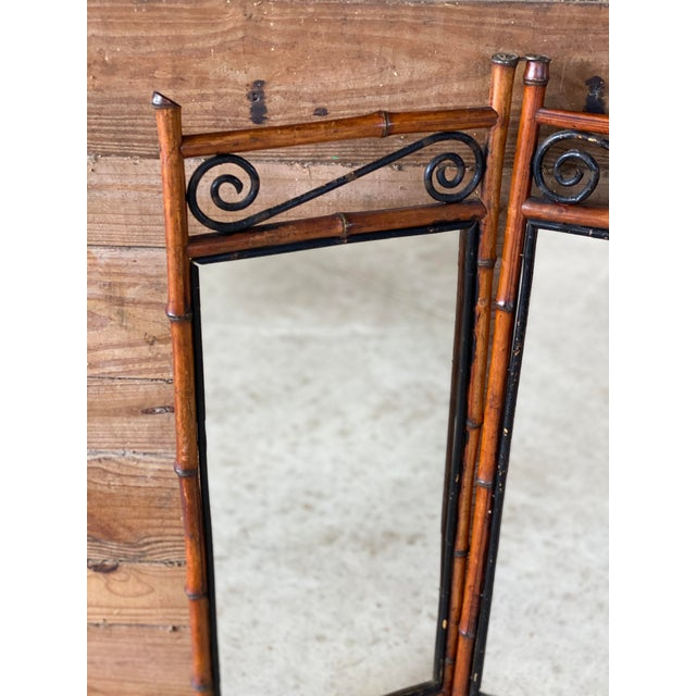 French Antique French Bi-Fold Bamboo Mirror For Sale - Image 3 of 13