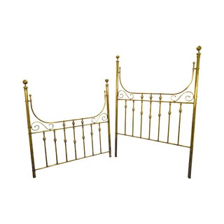 Victorian Style Brass High Back Bed Headboard & Footboard