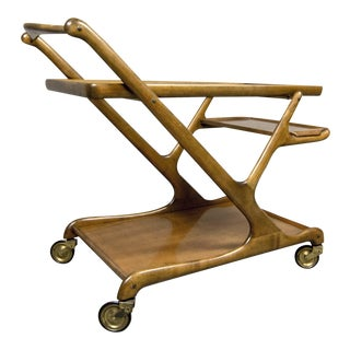 Mid-Century Italian Design Walnut Bar Trolley by Cesare Lacca for Cassina, 1950s For Sale