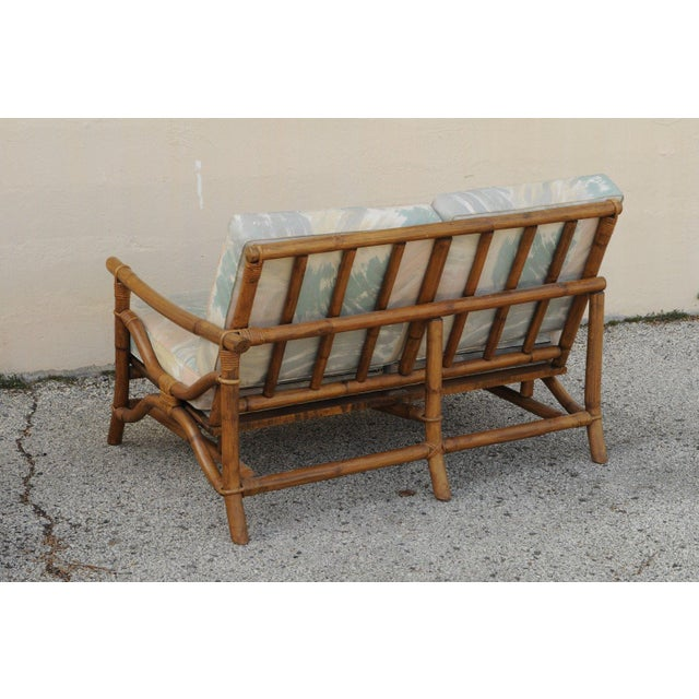 Vintage Mid Century Ficks Reed 5 Pc. Rattan Tiki Set Bamboo Sofa Table Pair Chairs For Sale In Philadelphia - Image 6 of 11