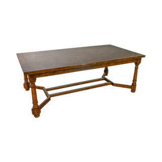 French Country Style Large 11' Parquet Top Expanding Dining Table (B)