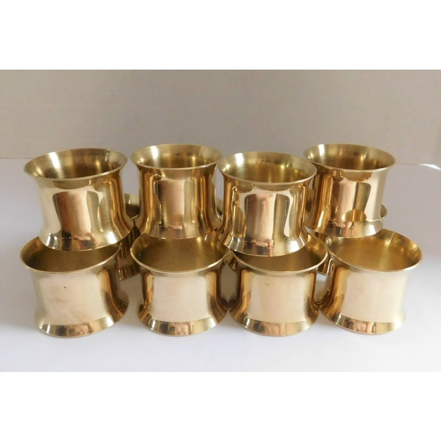 Solid Brass Vintage Napkin Rings - Set of 12 For Sale - Image 9 of 13