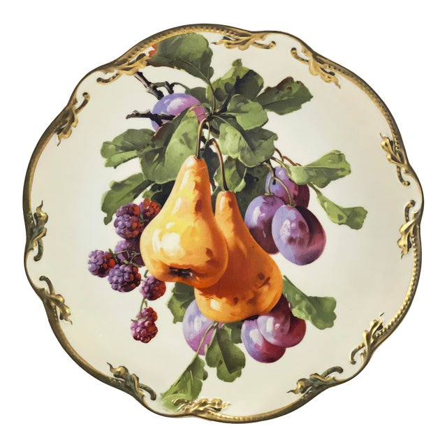 Antique German Fruit Three Crown China Gold Rim Plate For Sale