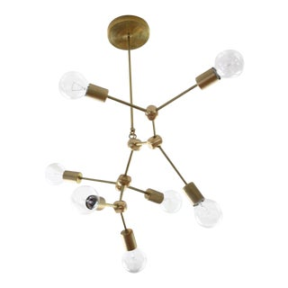 Modern Brass Seven Globe Ceiling Fixture For Sale