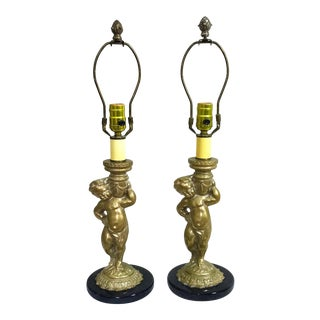 Mid 20th Century Cast Brass Putti on Marble Base Lamps - a Pair For Sale