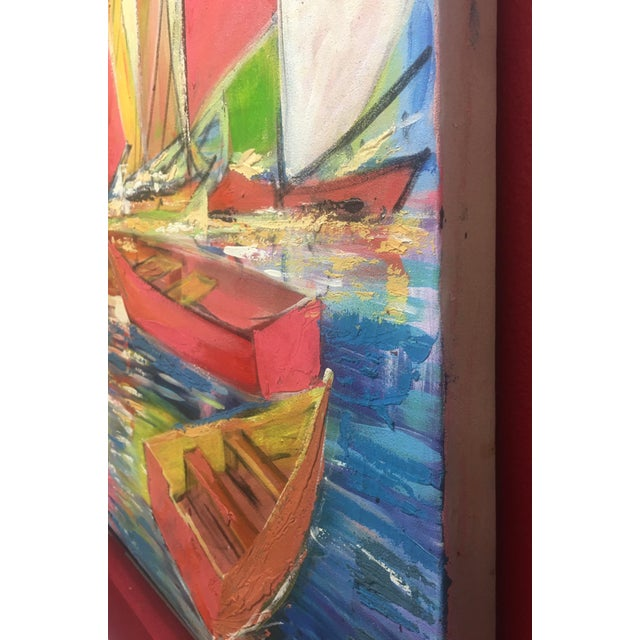 """Canvas Huge Original Joseph Friedrich Modern Fauvism Expressionist Painting Sailboats in Port O/C - 40"""" X 50"""" For Sale - Image 7 of 13"""