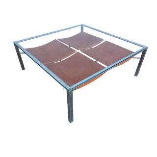 Chrome Tubular Square Glass Top Coffee Table With Leather Wrapped Magazine Rack For Sale