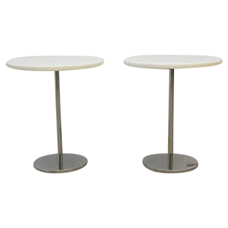 Pair Of White Marble And Stainless Steel Side Tables By Gerald R. Griffith  For Sale