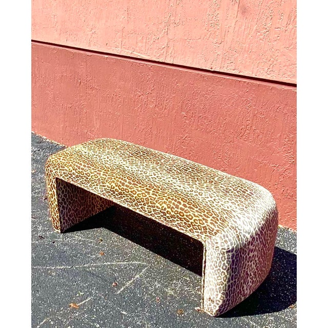 Contemporary Leopard Velvet Waterfall Bench For Sale - Image 4 of 10