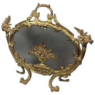 French Gilt Bronze Firescreen For Sale